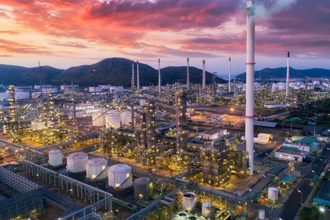 refinary plant with oil tank storage Petrochemical plant chamical plant Chonburi Thailand